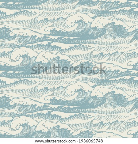 Vector seamless pattern with hand-drawn waves. Decorative illustration of the sea or ocean, stormy waves with breakers of sea foam. Repeating background in retro style Photo stock ©