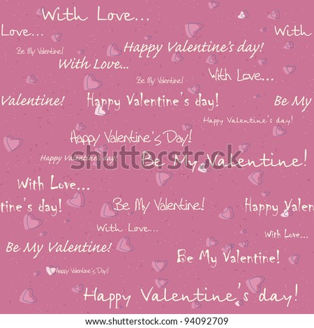 vector seamless pattern with hearts and text