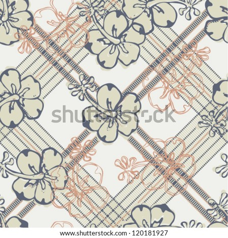 Vector seamless pattern with hibiscus and tartan plaid background