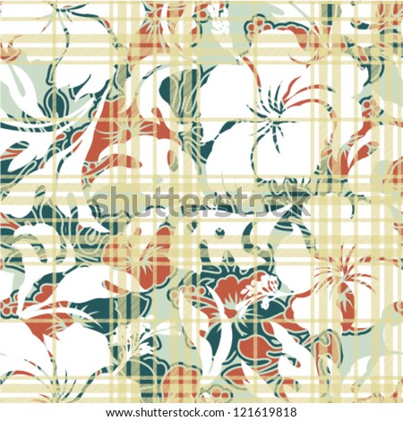 Vector seamless pattern with hibiscus and tartan plaid texture