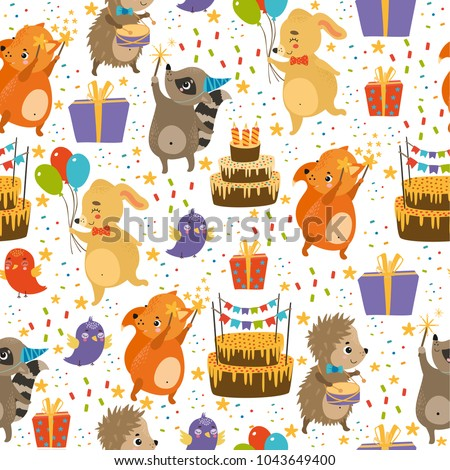 vector seamless pattern with holiday cakes, birds, animals, dog, hedgehog, raccoon, squirrel, fox. birthday, bright colors, spring, summer background. use for wallpaper, deca ration, textiles, fabrics Сток-фото ©