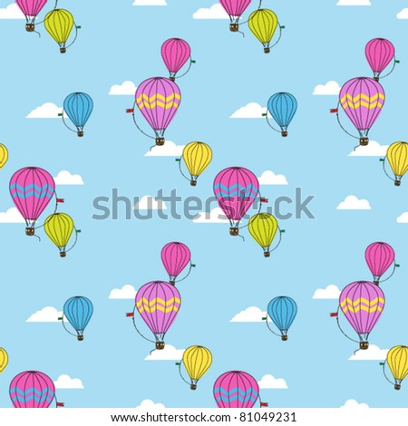 Vector seamless pattern with hot air balloons.