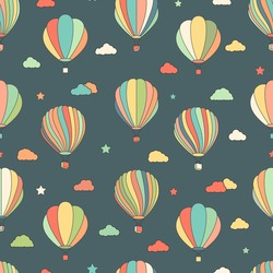 Vector seamless pattern with hot air balloons, stars and clouds on dark background. Fun hand drawn children texture, background for kids.