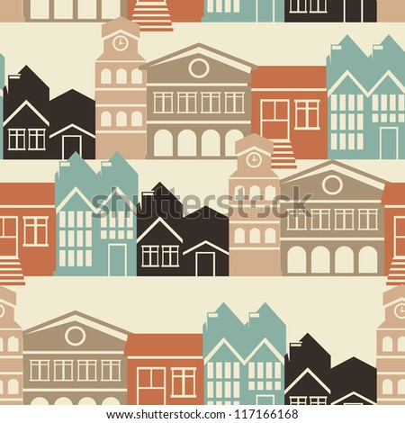 Vector seamless pattern with house and building icons in  retro style