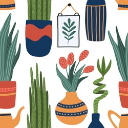 Vector seamless pattern with indoor plants in pots and vases - bamboo, sansevieria, snake tongue, watering can, tulip flowers . Potted house plants repit pattern for textile in handdrawn cartoon style