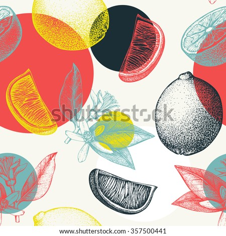 Vector seamless pattern with ink hand drawn lime  fruit, flowers, slice and leaves sketch. Abstract citrus background with circle elements