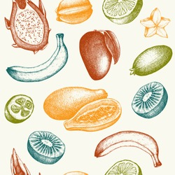 Vector seamless pattern with  ink hand exotic fruits sketch for kitchen and restaurant design. Vintage tropical fruit background.