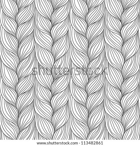 Vector seamless pattern with interweaving of braids. Abstract ornamental background in form of a knitted fabric. Black and white illustration of stylized textured yarn or hairstyle close-up