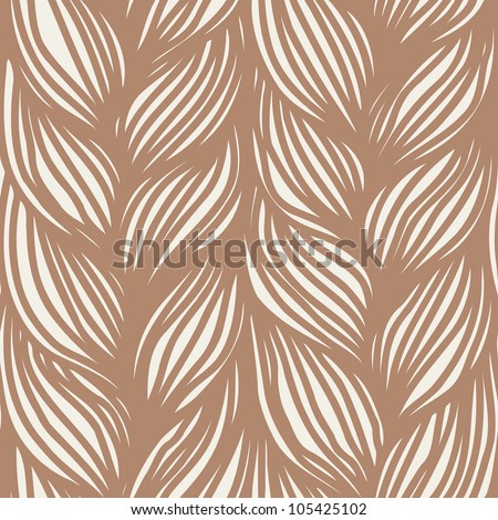 Vector seamless pattern with interweaving of brown braids. Ornamental background in the form of hairstyle in plaits . Abstract illustration with stylized texture of a knitted fabric