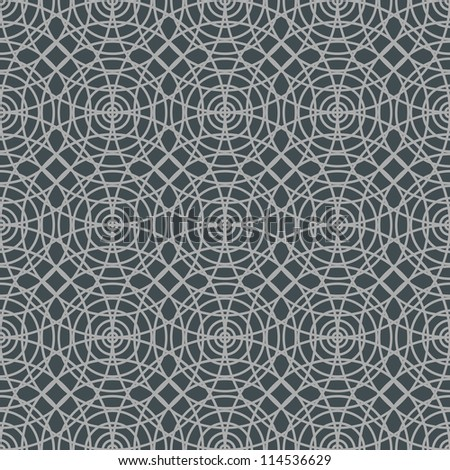 Vector seamless pattern with interweaving of light linear concentric circles. Simple ornamental illustration with stylized texture of covering. Abstract background for paper, textile, print and web