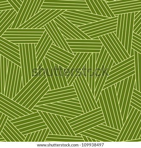 Vector seamless pattern with interweaving of strokes. Traditional hatching of architectural hand drawn graphic. Green abstract ornamental background  with stylized grass, carpet and other covering