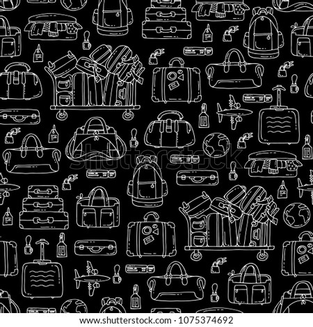 Vector seamless pattern with isolated baggage on black color. Pattern on the theme of travel and tourism. Background for use in design