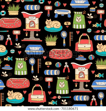 Vector seamless pattern with isolated colored hand drawn products for cats on black color. Pattern on the theme of pet shop. Background for use in design