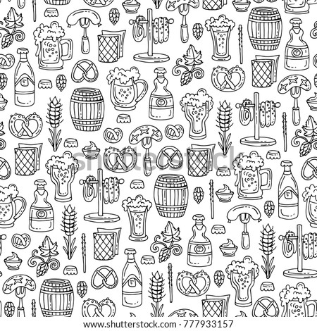 Vector seamless pattern with isolated hand drawn symbols of beer on white color. Pattern on the theme of drinks and food. Background for use in design