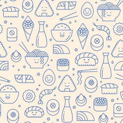 Vector seamless pattern with Japanese cuisine like sushi, rice, rolls and fish. Blue icons on beige background. Smiling faces, kawaii in line art.