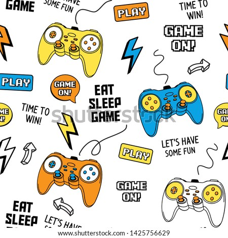 Vector Seamless pattern with joysticks gamepad  illustration and slogan text, for t-shirt prints and other uses.
