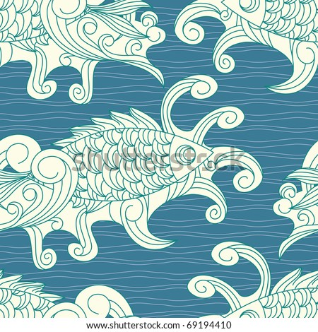 vector seamless pattern with koi  carp fishes. clipping mask