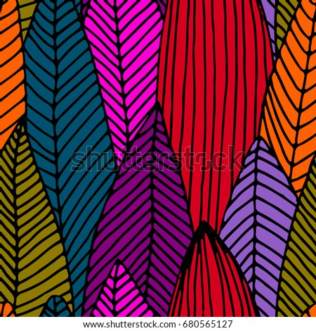 Vector seamless pattern with leaves   - Shutterstock ID 680565127