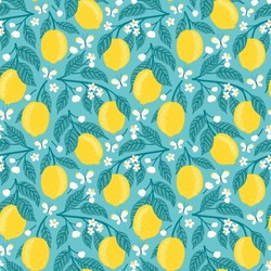 Vector seamless pattern with lemons, flowers and butterflies. Bright floral repeated texture with blooming lemon branches. Elegant spring print with fruits for fabric and wrapping paper.