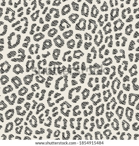 Vector seamless pattern with leopard spots. Endless stylish texture. Ripple scribble repeating background. Natural stylish spotty animal print. Can be used as swatch for illustrator.