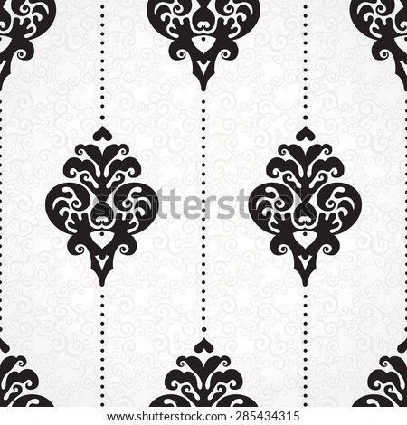 Vector seamless pattern with line art ornament. Vintage element for design in Victorian style. Ornamental lace tracery. Ornate floral decor for wallpaper. Endless texture. Contrast pattern fill.