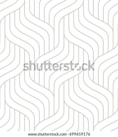Vector seamless pattern with linear braids. Geometric stylish texture. Rippled light background.