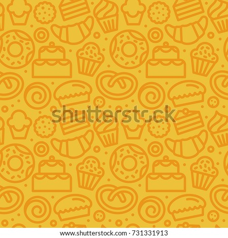 Vector seamless pattern with linear icons and illustrations related to bakery, cafe, cupcake shop - packaging design wrapping paper and background design in yellow colors