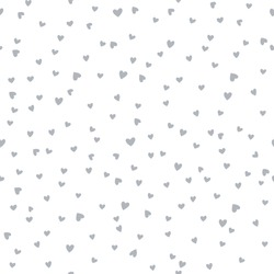 Vector seamless pattern with little hearts. Creative scandinavian childish background for Valentine's Day. Monochrome neutral hearty backdrop for wrapping paper, textile, fabric, card making.