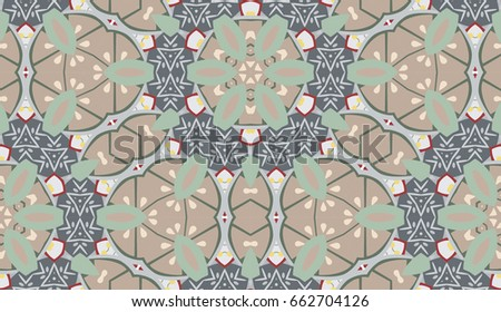 Vector seamless pattern with mandala shape. Vintage colored floral decorative repainting background with boho chic style and ethnic motifs. Abstract geometric flower with round symmetry. #662704126