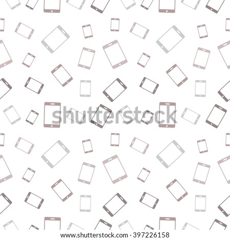 Vector seamless pattern with mobile phones. Series of Technology Backgrounds.