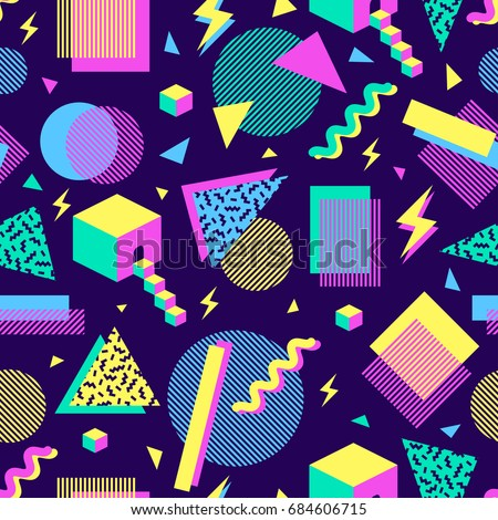 vector seamless pattern with multicolor geometric shapes on dark background. retro vintage abstract art print. fashion 80s-90s. memphis style design.  Wallpaper, cloth design, fabric, paper, textile.