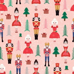 vector seamless pattern with nutcrackers.