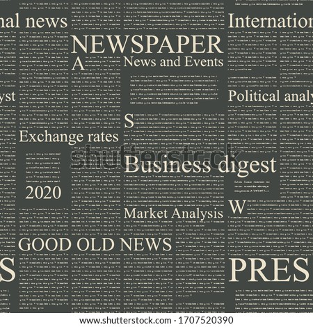 """Vector seamless pattern with old magazine or newspaper columns. Text to column: """"Your text here"""" and """"Lorem ipsum"""""""