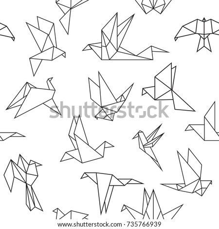 Vector seamless pattern with origami paper birds. Polygonal seamless pattern with birds. Pattern for fabric, baby clothes, background, textile, wrapping paper and other decoration.