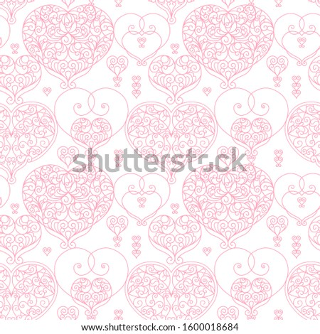 Vector seamless pattern with ornate hearts. Vintage design element in Eastern style. Ornamental lace tracery. Floral oriental ornament for wallpaper. Line art ornaments on white background.