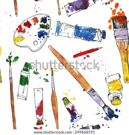 vector seamless pattern with palette,  tubes of paint, brushes and stains, hand drawn  illustration