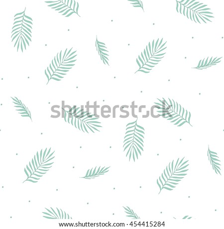 Vector seamless pattern with palm leaves. Simple and light pattern for the fabric, postcards, invitations, background.