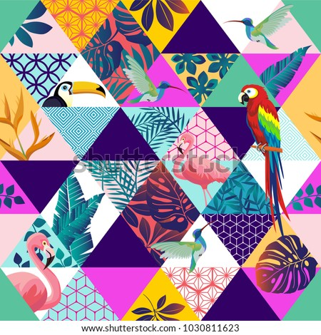 Vector seamless pattern with Parrot, Toucans,Hummingbird and tropical palm leaves. Exotic Hawaii art background is tropical trendy. Design for fabric, textile, wrapping paper and other decoration.