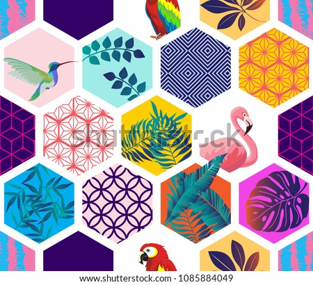 Vector seamless pattern with Parrot, Toucans,Hummingbird, Flamingo and tropical leaves. Exotic Hawaii art background. Design for fabric, textile, wrapping paper and other decoration.