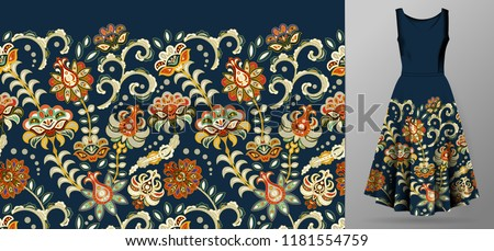 0b85464d5cad0d Vector seamless pattern with pastel orange flowers ornament on dark blue  background, hand drawn texture