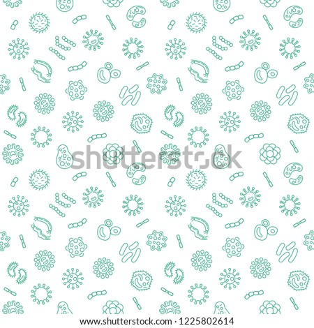 Vector seamless pattern with pathogen, virus, bacteria, and microbe icons in thin line style