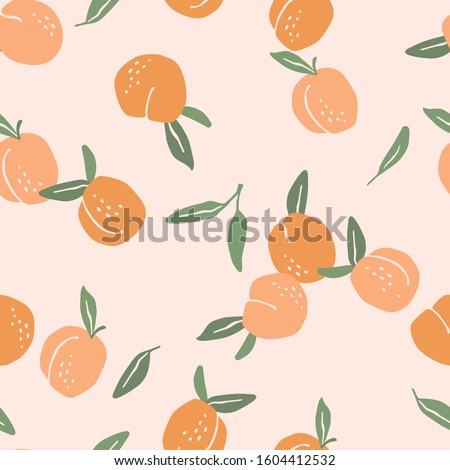 Vector seamless pattern with peaches. Trendy hand drawn textures. Modern abstract design for paper, cover, fabric, interior decor and other users.
