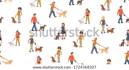Vector seamless pattern with people dog walking with many dogs breeds.  Dog walker concept illustration in cartoon hand drawn style. dogs on the street seamless pattern design. urban people with pets