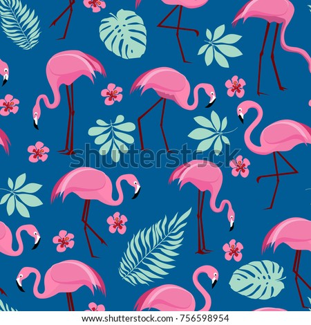 Vector seamless pattern with pink flamingos and tropical palm leaves. Exotic Hawaii art background is tropical trendy. Design for fabric, textile, wrapping paper and other decoration.