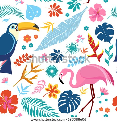 Vector seamless pattern with pink flamingos, Toucan and tropical leaves. Exotic Hawaii art background is tropical trendy elements. Design for fabric, textile, wrapping paper and other decoration.