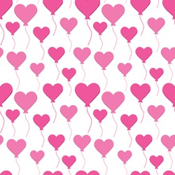 vector seamless pattern with pink heart-shaped air balloons for Valentine's day on a white background