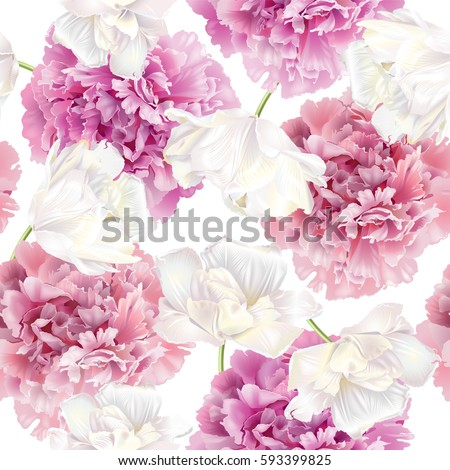 Vector seamless pattern with pink peony and white tulip flowers on white background. Romantic design for natural cosmetics, perfume, women products. Can be used as greeting card or wedding background