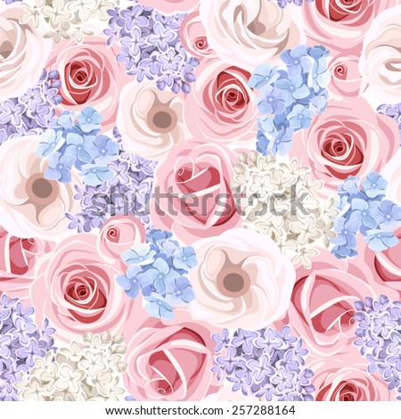 Vector seamless pattern with pink roses, purple and white lilac flowers and blue hydrangea flowers.
