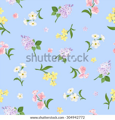 Vector seamless pattern with pink, yellow, white and purple flowers on a blue background.