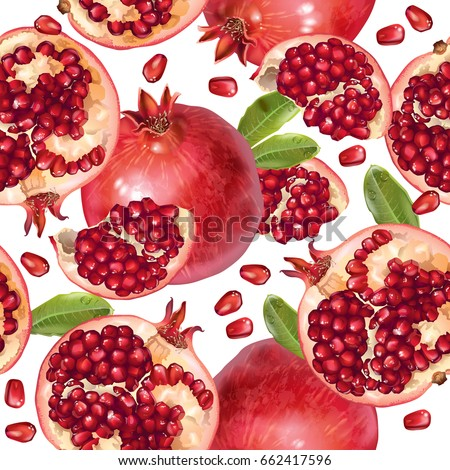 Vector seamless pattern with pomegranate fruits and seeds on white background. Design for cosmetics, spa, pomegranate juice, health care products, perfume. Best for textile or wrapping paper